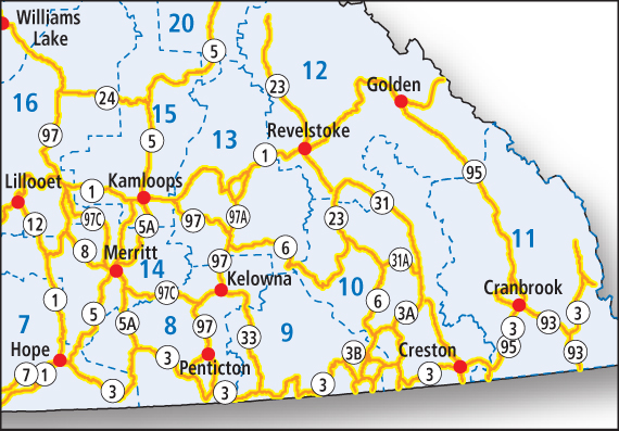 Bc Interior Map load restriction details